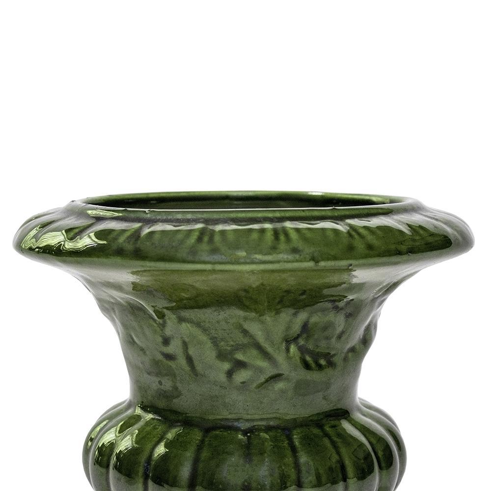 Florero ceramica verde oscuro