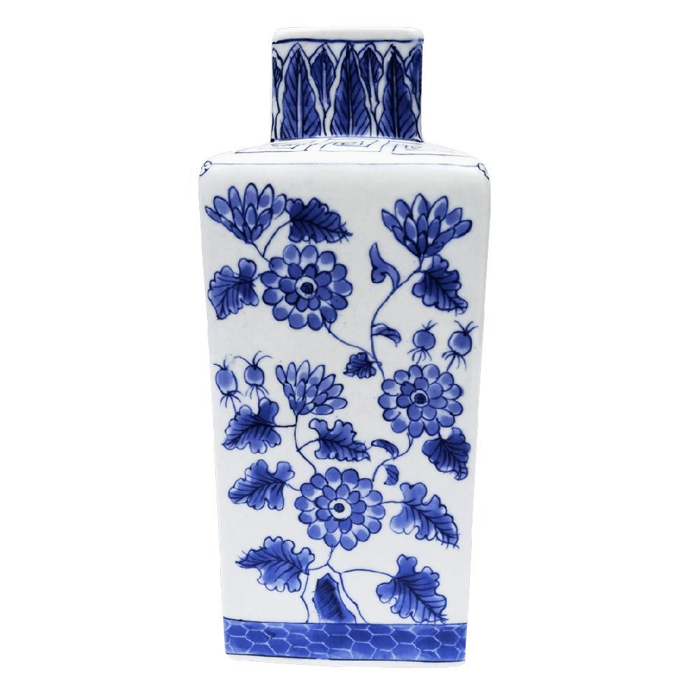Florero mediano blanco con azul